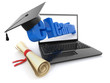 E-learning. Laptop, diploma and mortar board.