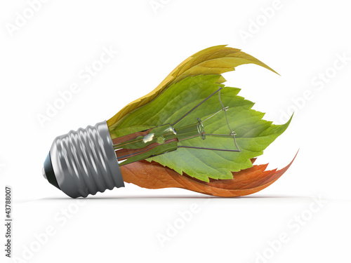 Ecology concept. Light bulb with leaf