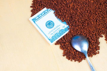 instant coffee with dollar