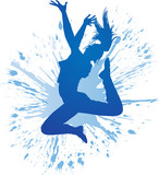 Dancing girl with blue spots and splashes