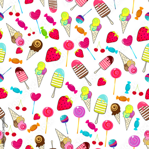 Cute seamless retro candies background