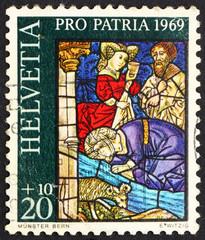 Postage stamp Switzerland 1969 Israelites Drinking from Spring o