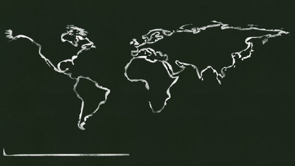 A world map being drawn on a black board.