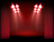 Bright stage with spot lights, smoke and curtains. Template for
