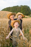 Three brothers playing field wheat. Twins. Smiling big family.