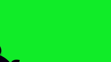 Flying bad with words Happy Halloween on a green screen