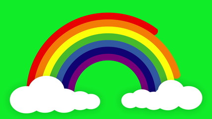 Animated Rainbow with clouds on a green screen background.