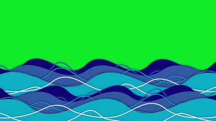 Animation of ocean waves moving across screen on green screen.