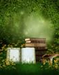 Książki na polanie z grzybami i żółtymi kwiatami