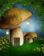 Baśniowy domek z grzyba na leśnej polanie