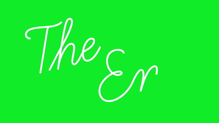 """The words """"The End"""" being written on green screen background."""