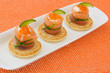 Red salmon roll with chees, caviar and cucumber