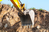 Excavator bucket closeup .Excavation