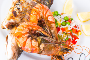 Giant prawns with sea bass fish.