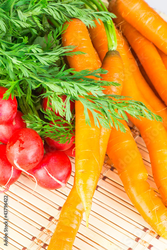 fresh carrots and radishes with tops