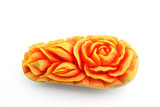 Fruit carving, Papaya carving details on white background
