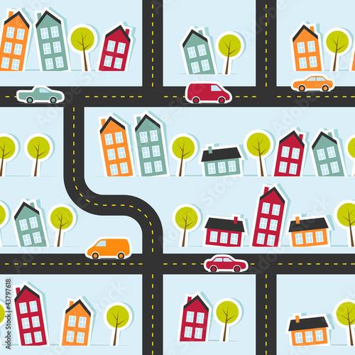 Foto op Plexiglas Op straat Paper town seamless pattern. Vector illustration.