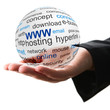 Transparent ball with www word in a hand