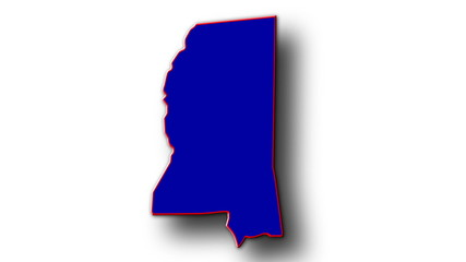 State of Mississippi map reveals from the USA map silhouette