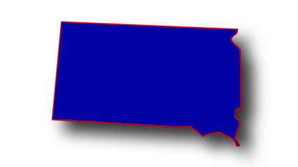 State of South Dakota map reveals from the USA map silhouette