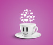 white  cup with speech bubbles