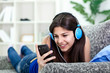 teenager girl listening to music