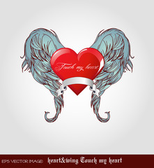eps Vector image: heart&wing Touch my heart