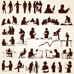 Business People Silhouettes Vector, pack of various situations