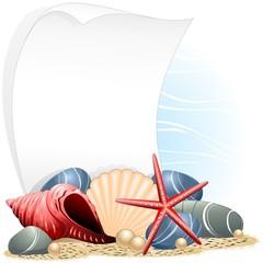 Conchiglie Cartolina Estate-Seashell Summer Card-Vector