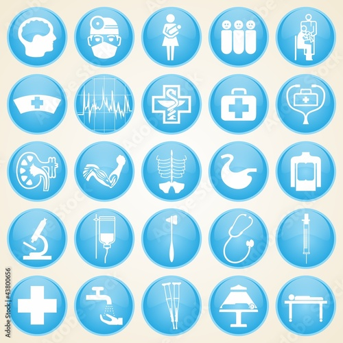 Medical icons, set of design elements, clinical hospital, organs