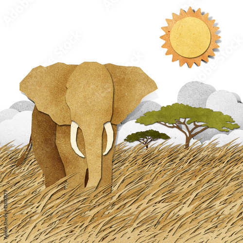 Elephant in Safari field recycled paper background
