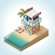 Vector isometric lifeguard tower