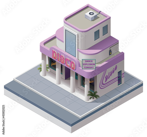 Vector isometric nightclub building