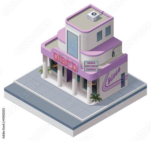Vector isometric nightclub building