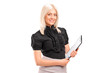 A young businesswoman holding a clipboard