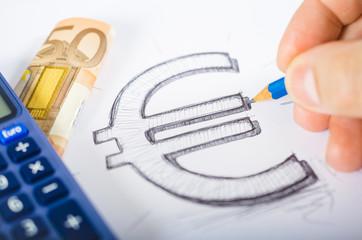 Skizziertes Euro-Zeichen