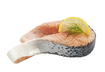 Salmon raw slice isolated with lemon