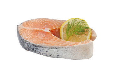 Salmon raw slice isolated