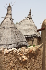 Thatched roofs of a Dogon village in Mali, West Africa