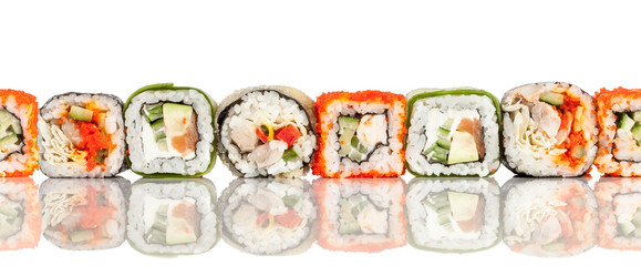 Sushi Roll on a white seamless background