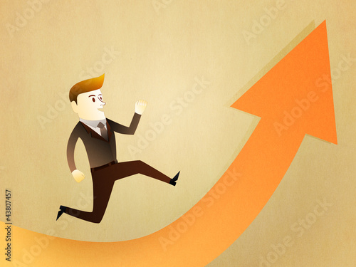 Conceptual image - Business man run to the success