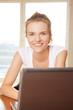 happy teenage girl with laptop computer