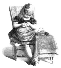 Nice little Girl sewing - Petite Cousette