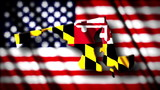 Flag of Maryland in the shape of Maryland state with the USA fla