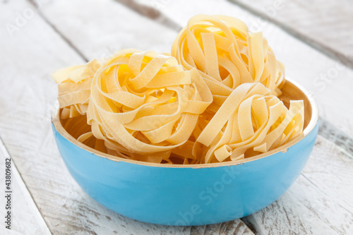 Bowl of raw fettuccine nests