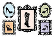 shoe silhouettes in antique frames, vector set