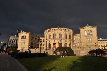 Stormy evening, Parliament, Oslo