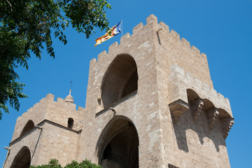 Valencia - Serranos Towers, the interior medieval facade