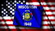 Flag of Wisconsin in the shape of Wisconsin state with the USA f