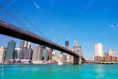 Beautiful Brooklyn Bridge looking towards Manhattan in NYC